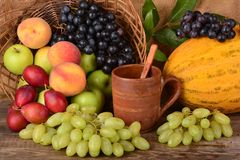 Old potters clay mug and colorful fruits, still life Stock Image