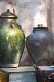 Old Pottery. Large ceramic handmade old pottery Royalty Free Stock Photo