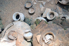 Old pottery made by thai in the antiquity. In Sukhothai, Thailand Royalty Free Stock Photo