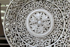 Old pottery platter with intricate filigree design Stock Photos