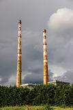 Old power plant chimneys Stock Photography