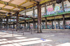 Old Power Station: Structural Steel and Tagging Stock Photo