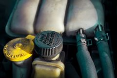 Power Steering Fluid Cap with reservoir stock photos