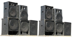 Old powerful stage concerto audio speakers Royalty Free Stock Photo
