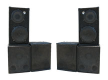 Old powerful stage concerto audio speakers Stock Photography