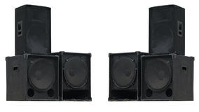 Old powerful stage concerto audio speakers isolated royalty free stock photo