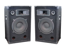 Old powerful stage concerto audio speakers isolated Stock Photos