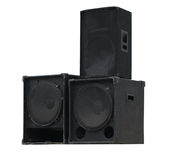 Old powerful stage concerto audio speakers isolated Royalty Free Stock Image
