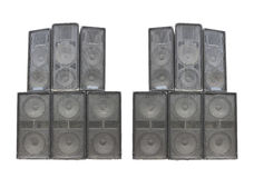 Old powerful stage concerto audio speakers isolated on white stock photos