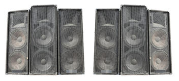 Old powerful stage concerto audio speakers isolated on white Royalty Free Stock Photo