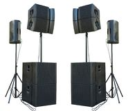 Old powerful stage concerto industrial audio speakers isolated o royalty free stock image