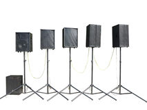 Old powerful stage concerto industrial audio speakers isolated o Stock Photos