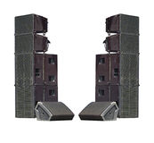 Old powerful stage concerto industrial audio speakers isolated o Stock Photo
