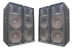 Old powerful stage concerto speakers Royalty Free Stock Image