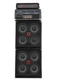 Old powerfull stage concerto audio speakers stock photo