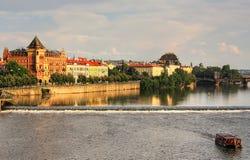 Old Prague. Vltava river and historic part of Prague Stock Photography