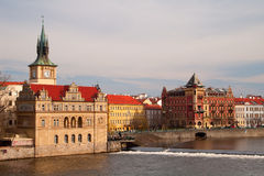 Old prague. Old castles and towers of prague. view of the river Vltava stock images