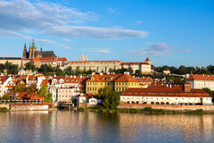 Old Prague from across Vlata river Stock Photos