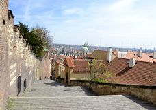 Old Prague castle steps Royalty Free Stock Photo