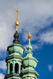 Old Prague, close-up on towers of The Strahov Monastery, Czech Republic Royalty Free Stock Photos