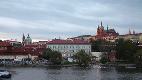 Old Prague overview. At the sunset time stock footage