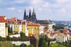 Old Prague panorcanama with sityscape of Hrady, St. Vitus Cathedral and red roofs, czech republic Stock Photography