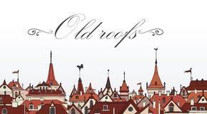 Old Prague roofs. Colorful vector illustration Stock Photography