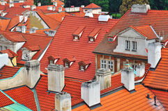 Old Prague roofs. Roofs of Prague old town, Czech Republic Stock Photo