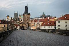 Old Prague seen from Charles bridge, Czech republic royalty free stock images