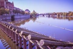 Old Prague seen from the Novotny footbridge Royalty Free Stock Photos