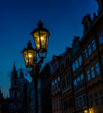 Old Prague Town street lamps at night Stock Photography