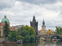 Old Prague view. From the river Stock Image