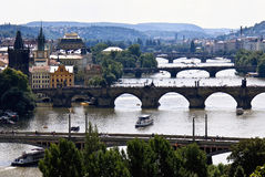 Old Prague view, bridges. Beutiful Prague city view. Photo is made from the hill over the river Vltava, so you can see some of city`s arch bridges, including the Royalty Free Stock Photo