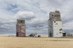 Old prairie grain elevators Royalty Free Stock Images
