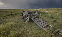 Old Prairie Wheel Cart Saskatchewan Stock Photos