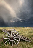 Old Prairie Wheel Cart Saskatchewan Stock Photo