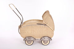 Old pram vintage. White cream wicker Royalty Free Stock Photos