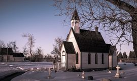 Old prarie church in winter. stock images