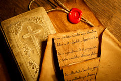Old prayer book with ancient letters Stock Photography