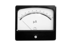 An old precise instrument ammeter. An old precise instrument - ammeter with mirror scale Stock Images