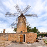 Old preserved windmill. On the island of Mallorca in Spain Royalty Free Stock Photos
