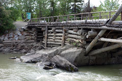 An old, preserved wooden bridge from goldrush days Stock Photo