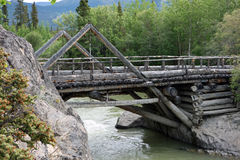 An old, preserved wooden bridge from goldrush days Royalty Free Stock Image