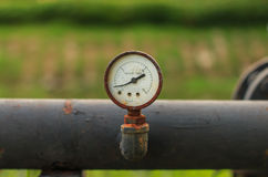 Old pressure gauge selective focus Stock Image