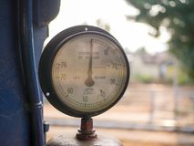 Old pressure gauge on a train. In India Royalty Free Stock Image