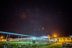 An old primary school in Sibu, Sarawak, Malaysia with star views at night. stock photography