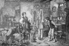 Den of thieves, vintage engraving scene. Old print, den of thieves, miserable shack where a gang of an old man and two kids hide stolen valuable goods, while a vector illustration
