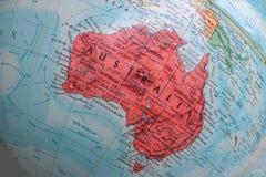 Old Print Map,terrestrial globe, Australia stock photo