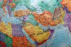 Old Print Map, terrestrial globe, Turkey, Iran, Iraq, Saudi Arabia stock photos