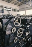 Old printing machine. Close up royalty free stock photo